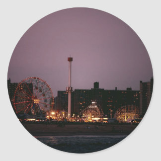 The Wonder Wheel and Cyclone at Night Round Stickers