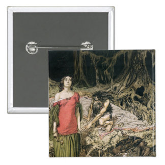The Wooing of Grimhilde, the mother of Hagen 15 Cm Square Badge