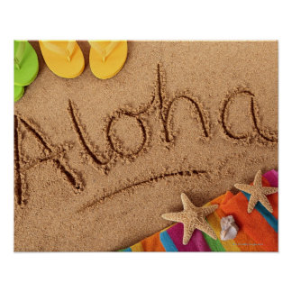 The word Aloha written on a sandy beach, with 2 Poster