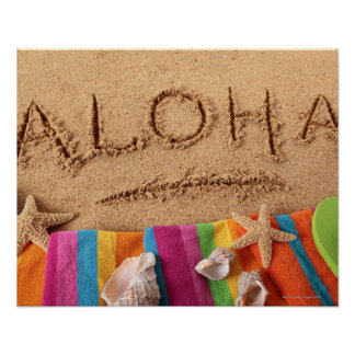 The word Aloha written on a sandy beach, with Poster