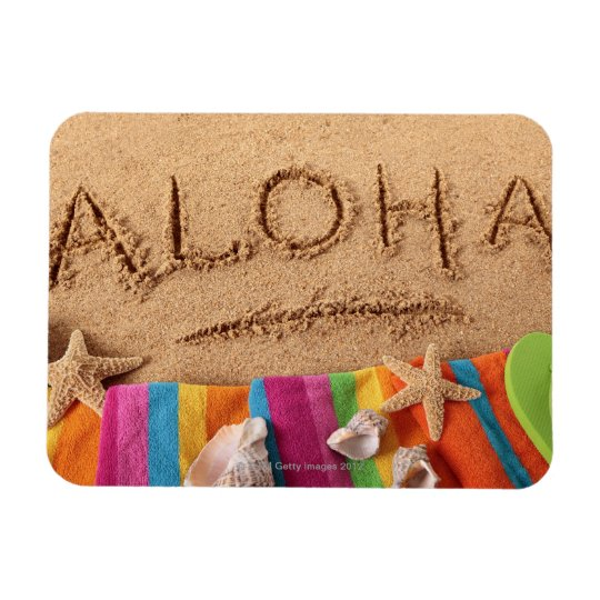 The word Aloha written on a sandy beach, with Rectangular Photo Magnet