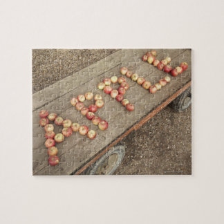 The word 'apple' in apples jigsaw puzzle