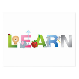 the word learn postcard