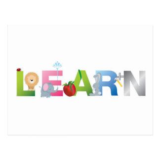 the word learn postcard