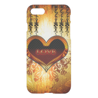 The word love on vintage background iPhone 7 case