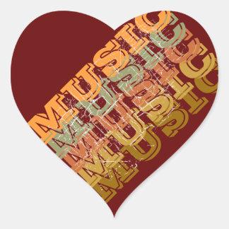 the word MUSIC Heart Sticker