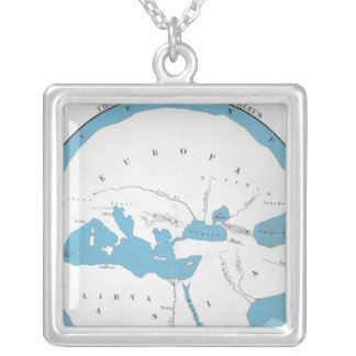 The world according to Hecataeus Silver Plated Necklace