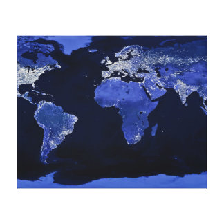 The World at Night - Map, Space Canvas Print
