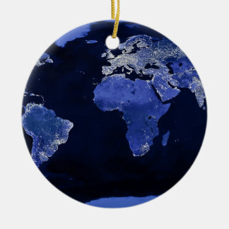 The World at Night - Map, Space Christmas Ornament