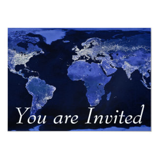 The World at Night - Map, Space 11 Cm X 16 Cm Invitation Card
