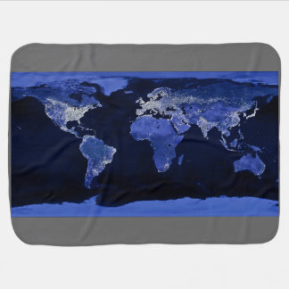 The World at Night - Map, Space Swaddle Blankets