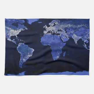 The World at Night - Map, Space Tea Towel