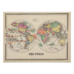 The world Atlas map with currents and trade winds Posters