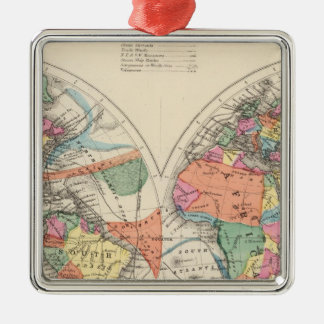 The world Atlas map with currents and trade winds Silver-Colored Square Decoration