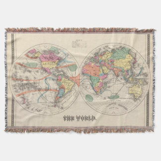 The world Atlas map with currents and trade winds Throw Blanket