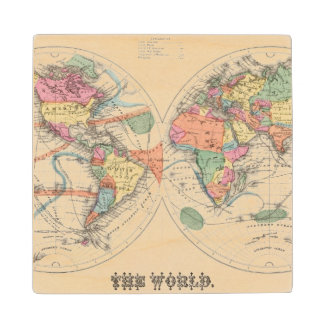 The world Atlas map with currents and trade winds Wood Coaster