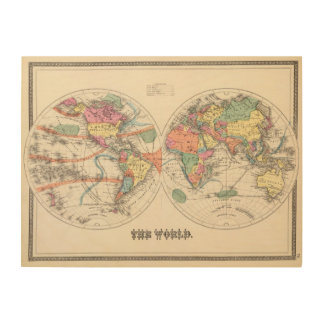 The world Atlas map with currents and trade winds Wood Print