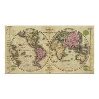 The World double hemisphere map Poster