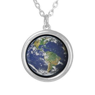 The World From Space Silver Plated Necklace