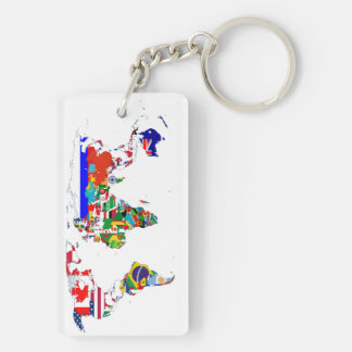 The World In Flags Double-Sided Rectangular Acrylic Key Ring