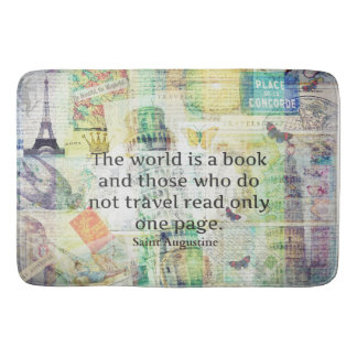 The world is a book travel quote bath mat