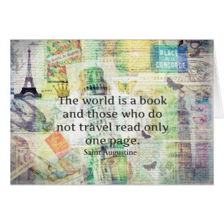 The world is a book travel quote greeting card