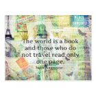 The world is a book travel quote postcard