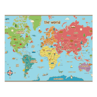 The World Map With Graphics Postcard