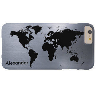 The World on Brushed Metal Barely There iPhone 6 Plus Case