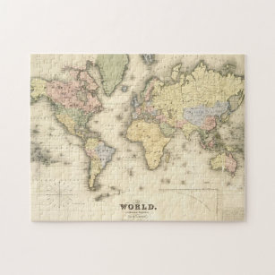 The World on Mercator's Projection   1840 Jigsaw Puzzle