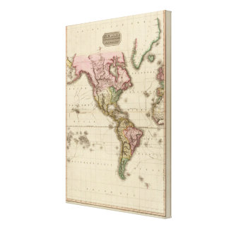 The World on Mercator's projection, western part Canvas Print
