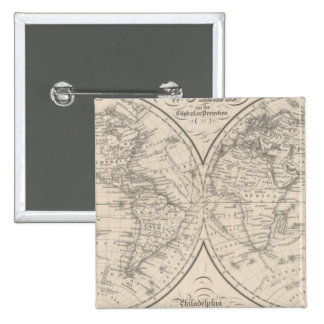The World on the Globular Projection 15 Cm Square Badge