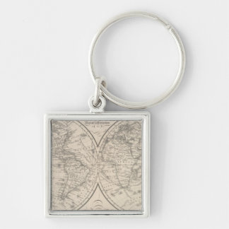 The World on the Globular Projection Silver-Colored Square Key Ring