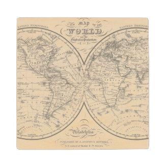 The World on the Globular Projection Wood Coaster