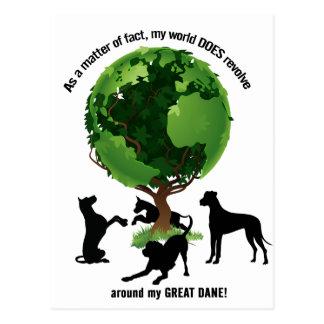 The World Revolves Around My Great Dane Postcard