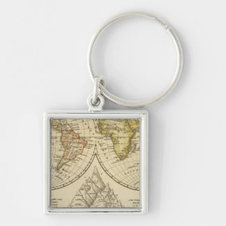 The World Silver-Colored Square Key Ring