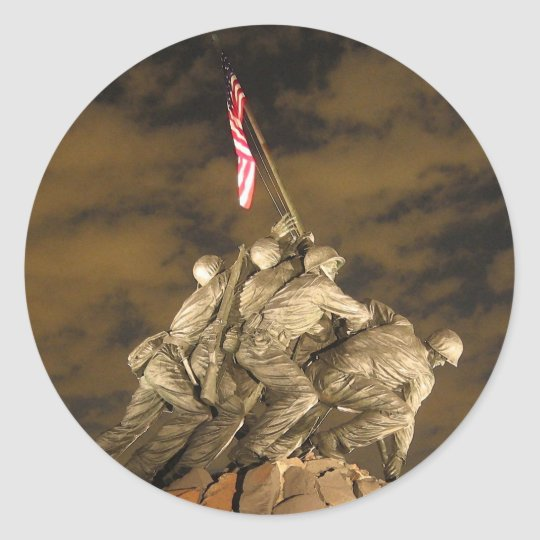 The World War II Iwo Jima Memorial Arlington VA Classic Round Sticker