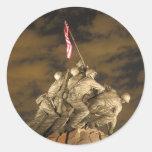 The World War II Iwo Jima Memorial Arlington VA Round Sticker