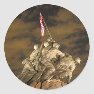 The World War II Iwo Jima Memorial Arlington VA Round Stickers