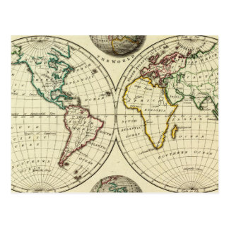 The World with continental boundaries Postcard