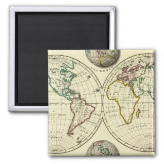 The World with continental boundaries Square Magnet