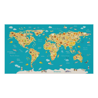 Childrens world map posters prints zazzle the world39s animals poster gumiabroncs Gallery