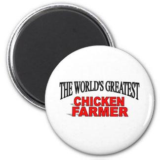 The World's Greatest Chicken Farmer 6 Cm Round Magnet