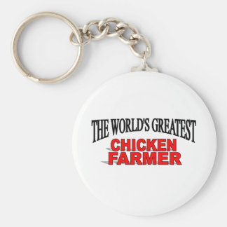 The World's Greatest Chicken Farmer Basic Round Button Key Ring