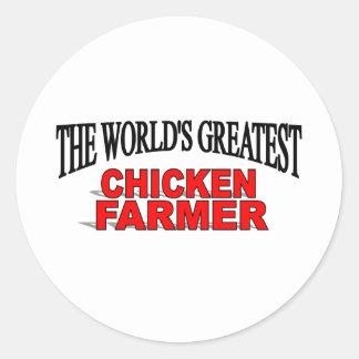 The World's Greatest Chicken Farmer Round Sticker