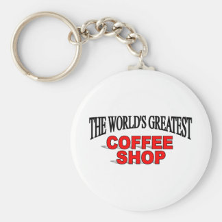 The World's Greatest Coffee Shop Basic Round Button Key Ring