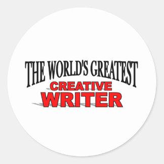 The World's Greatest Creative Writer Round Sticker