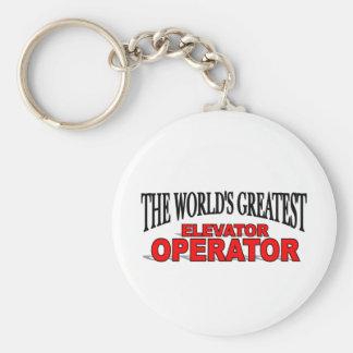 The World's Greatest Elevator Operator Basic Round Button Key Ring