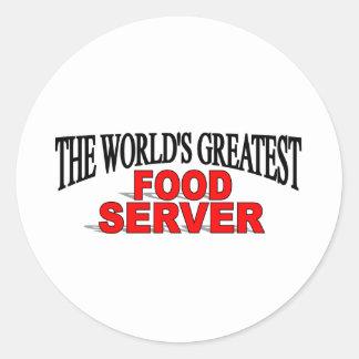 The World's Greatest Food Server Round Sticker