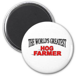 The World's Greatest Hog  Farmer 6 Cm Round Magnet